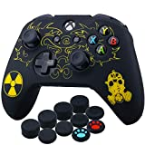 YoRHa Laser Carving Silicone Cover Skin Case for Xbox One S/Xbox One X Controller x 1(Radiation) with Thumb Grips x 10