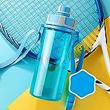 YIXINYOUPIN Botellas de agua de deporte libre de Bpa botella de agua caliente con tapa grande a prueba de fugas correa correa para deportes, viajes, camping, botella de agua para niños 2000 ml azul