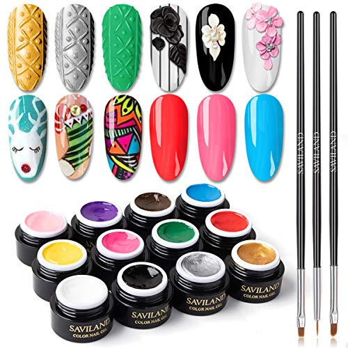 Saviland 12 Colors 3 in 1 Gel Art Paint for Nails with 3pcs Brush Pens ,6ml/pcs Cable Knit Sweater Nail with 3D Embossed Gel Nail Polish, Carve Gel Set for Flowers Animals Design(Red White Black...)