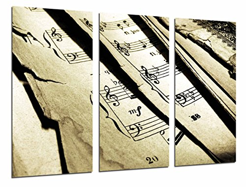 Cuadro Fotográfico Decoracion Musical Partitura vintage, Tamaño total: 97 x 62 cm XXL