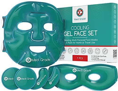 Antifaz de Gel Frío y Mascara de Gel para Ojos – Tecnología de Gel Facial de Medi Grade – Set para Cuidado Facial de Mujer y Hombre, Mascara de Frio para Cara Ojos y Anti Ojeras con Bolsa de Gel Frio