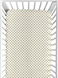 Sweet Jojo Designs Gold and White Polka Dot Baby or Toddler Fitted Crib Sheet for Butterfly Floral Collection