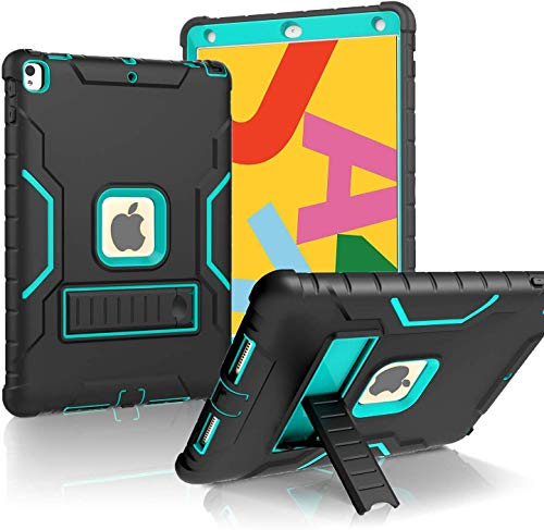 LTROP iPad 10.2 2019 Case, iPad 7th Generation Case with Built-in Screen Protector, 10.2' iPad Case Heavy Duty Rugged Full-Body Drop Protection Stand Case Cover for iPad 10.2-Inch 2019 Gen 7th, Black