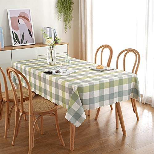 CYYyang Mesa de Comedor Lavable Cubierta de Lino de Tela con Encaje Ondulado Impermeable de poliéster-algodón Minimalista Moderno