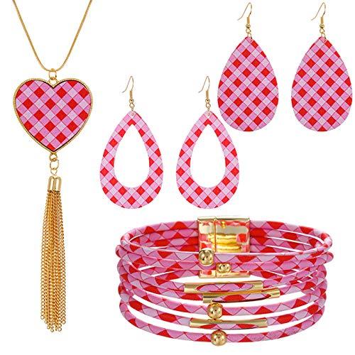 Hunpta Women's Jewelry Sets Retro Pendant Necklace Drop Earrings Charming Bracelet Valentine's Day Gift