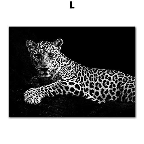 SDFSD Afrikaans wild dier luipaard Nordic poster en dier muurschildering canvas muurschildering woonkamer huis decoratie 40x50cm