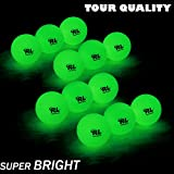 R&L Glow Golf Balls for Night Sports - Tournament Fluorescent Glowing in The Dark Golf Ball - Long Lasting Bright Luminous Balls Rechargeable with UV Flashlight - Included (6 Pack)