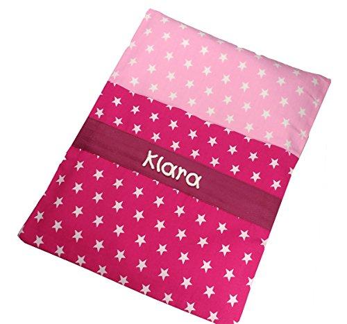 Sterne Wärmekissen pink mit Namen, Körnerkissen, Ersatz Wärmflasche