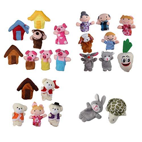 harayaa 24x Marionetas de Dedo Rima Infantil Liebre Tortuga Peluche Bebé Niños
