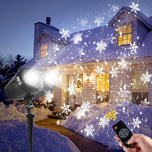Proyector de navidad exterior, LED Proyector de nieve de Navidad GreenClick, Lámparas de proyección de efecto nevadas con control remoto e IP65 a prueba de agua para interiores y exteriores