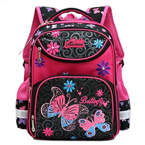 Zaini scolastici per ragazze, Zaino per ragazze della scuola primaria Zaini adolescenti Zaini impermeabili per bambini, Borsa a tracolla personalizzata con farfalle per escursionismo - Rose