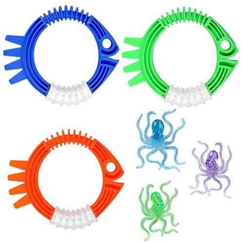 OWUDE Pool-Tauchspielzeug, 3 Tauchringe und 3 Tauch-Octopuses, Schwimm-Tauch-Spielzeug, Geschenke für Kinder, Pool-Sinker für Unterwasser-Tauchspiel-Training