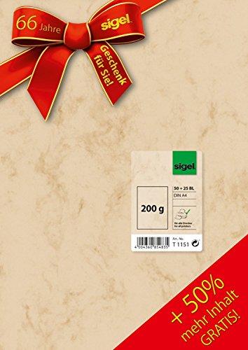 Sigel T1151 Marmor-Papier beige, A4, 200 g, 50 + 25 Blatt gratis, wie DP397