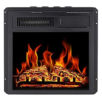 "Antarctic Star Electric Fireplace Insert 18"" Freestanding Heater Remote Control with 7 Log Hearth Flame Settings Adjustable Flame,1500w,Black"
