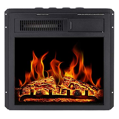 """Antarctic Star Electric Fireplace Insert 18"""" Freestanding Heater Remote Control with 7 Log Hearth Flame Settings Adjustable Flame ,1500w Black"""
