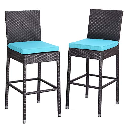 Do4U Set of 2 Patio Bar Stools All-Weather Wicker Outdoor Furniture Chair, Bar Chairs with Beige Cushions & Footrest | Garden Pool Lawn Backyard | Steel Frame| Barstools (Turquoise)
