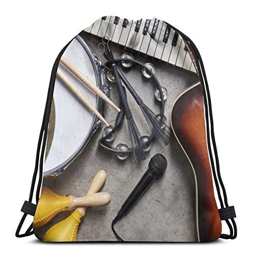 Elsaone Guitar, Drum and Keyboard Drawstring Bag Gym Dance Bag Backpack for Hiking Beach Travel Bags 36 x 43 cm/14.2 x 16.9 Inch