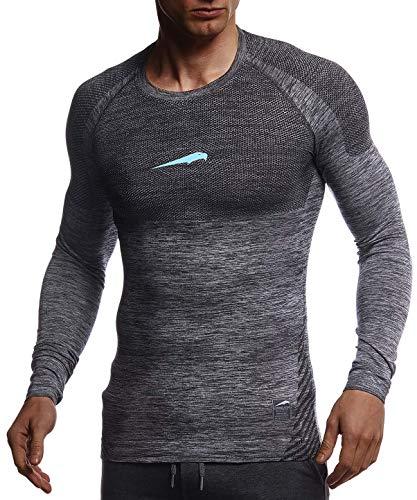Leif Nelson Gym Herren Seamless Fitness Langarm-Shirt Funktionsshirt Slim Fit Männer Bodybuilder Trainingsshirt Sportshirt - Bekleidung für Bodybuilding Training LN8309 Schwarz-Türkis Medium