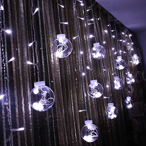 Led Linternas Cadena Jardín Exterior Cuento De Hadas Luces Verano Jardín Bola De Cristal Transparente Grande Deseo Bola Luz Cortina 3M, 220V-Color: Amazon.es: Iluminación