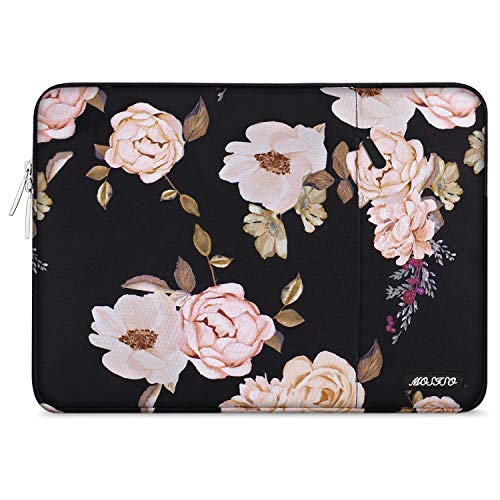 MOSISO Laptop Sleeve Bag Compatible with 13-13.3 Inch MacBook Pro, MacBook Air, Notebook Computer, Vertical Style Water Repellent Polyester Protective Case Cover with Pocket, Pink Peony