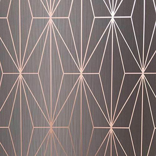 Muriva Ltd 703015 Muriva Kayla 703015 Vinyl-Tape, geometrische Dreiecke und Strass, 10 m Rolle aus Carbon und Rosegold