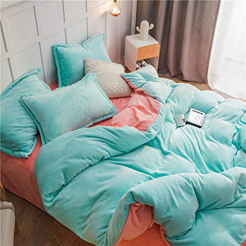 WOGQX Childrens Luxurious Soft Bedding,4 pieces of Scandinavian style comfortable printed family bedding, duvet cover, sheet, pillowcase-Aqua+Jade_200 * 230