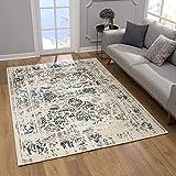 SANAT Teppich Vintage - Modern Teppiche für Wohnzimmer, Kurzflor Teppich in Blau-Creme, Öko-Tex 100 Zertifiziert, Größe: 120x170 cm