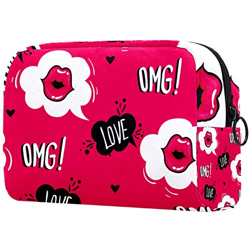 Toiletry Bag/Makeup Organizer/Cosmetic Bag/Portable Travel Kit Organizer/Household Storage Pack/Bathroom Storage Love Mouth Lips