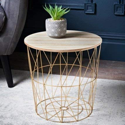 Biznest Wire Side Table Golden Home And Gifts Round Wooden Top Geometric Wire Occasional Side Table End Table