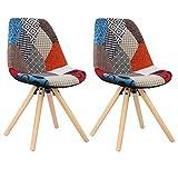 WOLTU® BH52mf-2 2 x Esszimmerstühle 2er Set Esszimmerstuhl mit Sitzfläche aus Leinen Design Stuhl Küchenstuhl Holz, Patchwork, Mehrfarbig