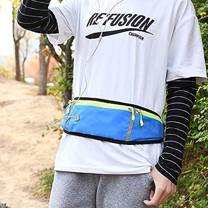 lexercice TOPCL Ceinture de course /à pied avec porte-bouteille deau pour homme et femme Sac banane avec trou pour casque pour la gym le v/élo la marche les voyages et les activit/és de plein air