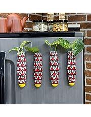 Lazy Gardener Magnetic Hydroponic Planter with Cleaning Brush | Unique Ceramic Fridge Magnet - Handmade, Handpainted