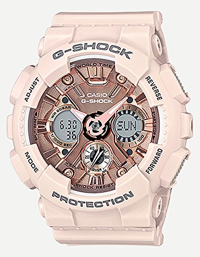 Casio Women's G Shock Stainless Steel Quartz Watch with Resin Strap, Pink, 29 (Model: GMA-S120MF-4ACR)