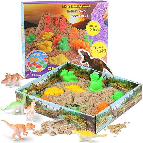 RenFox Jugar Arena Arena Mágica 3D Play Sand 500g Juego Súper Sand Magic Super Playset Natural de Arena y Molde de Dinosaurio No Tóxicos Juguetes de Arena para Niños