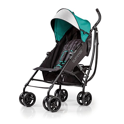 Summer 3Dlite Convenience Stroller, Teal – Lightweight Stroller with Aluminum Frame, Large Seat Area, 4 Position Recline, Extra Large Storage Basket – Infant Stroller for Travel and More