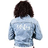 Bridesmaids World Bridal Party Jean Jackets with Pearls (L, Wifey)