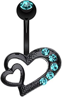 Blackline Heart on Heart 316L Surgical Steel Belly Button Ring
