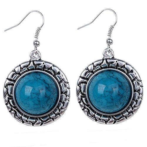 Yazilind vendimia de plata tibetana redondo azul turquesa cuelgan los pendientes del gancho de la gota mujeres de regalo