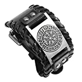 Punk Leather Metal Compass Norse Cuff Bracelet Adjustable Vintage Nautical Ship Wheel Anchor Nautical Compass Bracelets Protective Amulet United State Navy Jewelry Accessory for Men (Black, Antique silver)