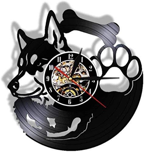 YDZYXY Regalo Reloj de Pared de Vinilo Reloj de Pared Husky Decoración de Pared Retro Art Deco para el hogar Regalo 12 Pulgadas con LED-12 Pulgadas sin LED UGT518