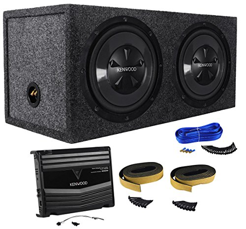 Kenwood P-W1220 12' 1600W Pair Car Subwoofers+Amplifier+Sub Box Package System