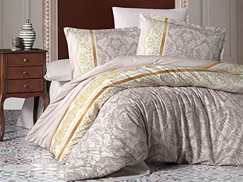 ZIRVEHOME Bettwäsche 240x220 cm, Rocco V1, 5 teilig Set, beige Farbe, 100% Baumwolle/Renforcé, Reißverschluss