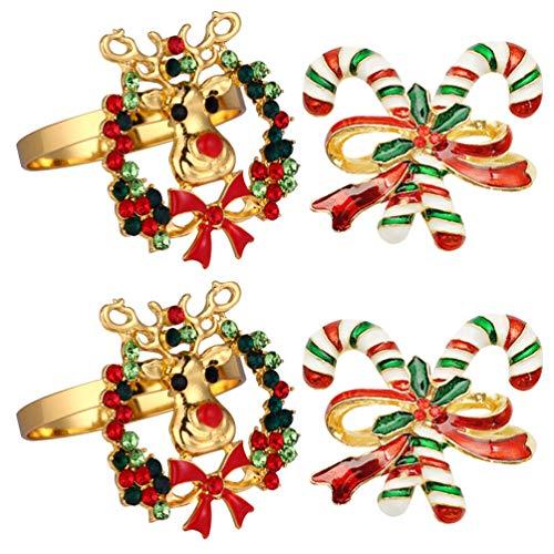ABOOFAN 4 Unids Anillos de Servilleta de Navidad Reno Bastón de Caramelo Anillos de Servilleta Diamantes de Imitación Anillos de Servilleta con Cuentas Servilleteros