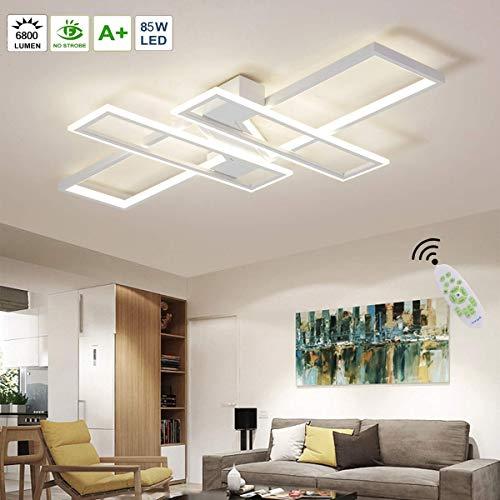 AUNEVN Minimalistisches LED Deckenleuchte Wohnzimmerlampe 85W Dimmbar mit Fernbedienung Modern Schlafzimmerlampe Rechteck Design Aluminium Deckenlampe Acryl Schirm Büro Innen Fixture Beleuchtung