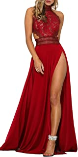 269a0167229d1 Sorrica Women s Sexy Halter Lace Backless Floral Print Party Evening Long  Maxi Dress with High Split