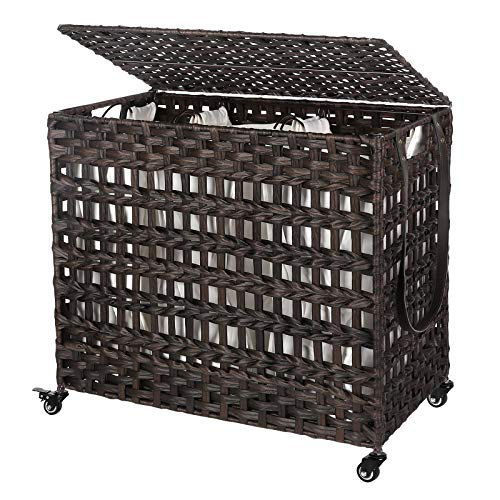 SONGMICS Handwoven Laundry Hamper, Rattan-Style Laundry Basket with 3 Removable Bags, Handles, Laundry Sorter with Lid, for Living Room, Bathroom, Laundry Room, Brown ULCB083K01