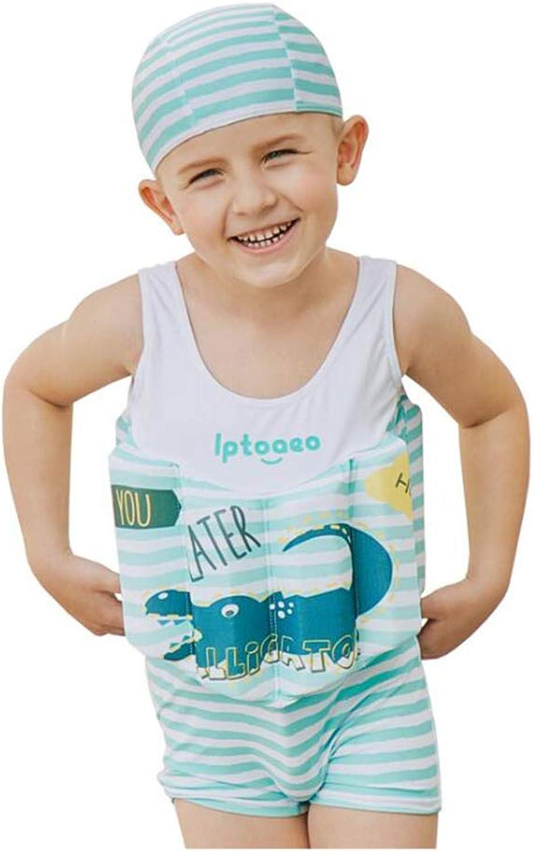 Siamese Diving Suit, Boys and Girls Swimwear Swimsuit, UPF50+ Sunscreen Diving Suit Swimwear, Buoyancy arm + hat + Swimwear + Buoyancy Board FourPiece Suit