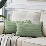 Fancy Homi Pack of 2 Sage Green Lumbar Decorative Throw Pillow Covers with Pom-poms, Soft Corduroy Solid Rectangle Cushion Cases Set for Couch Sofa Bedroom Car Living Room (12x20 Inch/30x50 cm, Green)