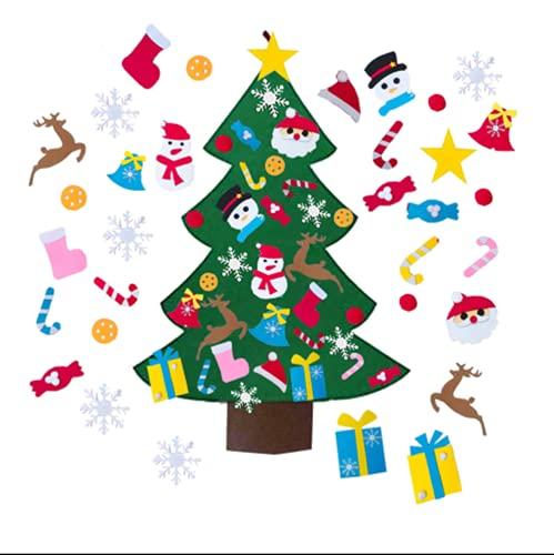 Albero di Natale in Feltro,Albero di Natale fai da te in feltro,con 32 Pezzi Ornamenti Staccabili, per regali di Natale, decorazioni per la porta della casa e la parete di Natale