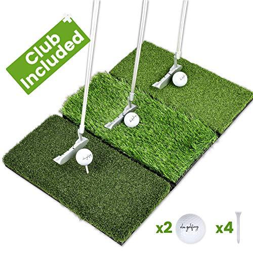 Enissa Golf Mat Set - Tri-Turf Foldable Golf Hitting Mat - Portable Putter - 2 Real Golf...